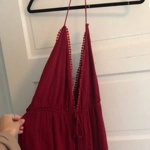 Red low cut in front and back romper